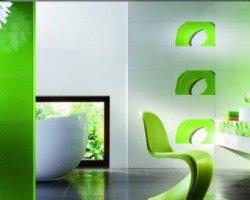 Дизайн интерьера ванной комнаты. Керамическая плитка
